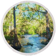 Cypress Trees On The River Round Beach Towel