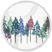Cypress Trees Round Beach Towel