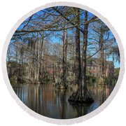 Round Beach Towel featuring the photograph Cyprus Lake 2 by Gregory Daley  PPSA