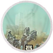 Cyrus Avery Centennial Plaza Route 66 Round Beach Towel by Janette Boyd