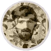 Round Beach Towel featuring the digital art D H Lawrence by Asok Mukhopadhyay