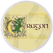 Round Beach Towel featuring the digital art D Is For Dragon Page Gold by Donna Huntriss