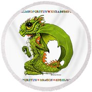 D Is For Dragon Round Beach Towel by Stanley Morrison