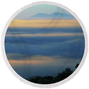Round Beach Towel featuring the photograph D8b6320 Mt. Diablo And Fog From Sonoma Mountain Ca by Ed Cooper Photography