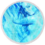 Round Beach Towel featuring the painting Da Blues by Tbone Oliver