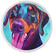 Doberman - Annie Round Beach Towel