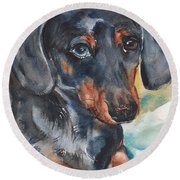 Dachshund Portrait In Watercolor Round Beach Towel by Maria's Watercolor