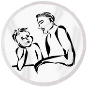 Dad And Son Round Beach Towel