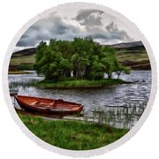 Round Beach Towel featuring the painting Dads Fishing Spot P D P by David Dehner