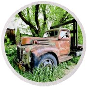 Dads Old Flatbed Truck. Round Beach Towel