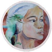 Daenerys Targaryen Born Dragon  Round Beach Towel