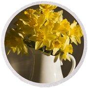 Daffodil Filled Jug Round Beach Towel by Sandra Foster