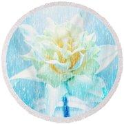 Daffodil Flower In Rain. Digital Art Round Beach Towel