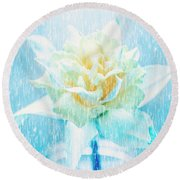 Daffodil Flower In Rain. Digital Art Round Beach Towel