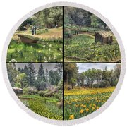 Daffodil Hill Panel 2x2 Round Beach Towel