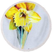 Daffodil Round Beach Towel by Mindy Newman