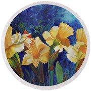 Daffodils Round Beach Towel by Alika Kumar