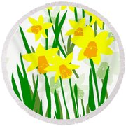 Daffodils Drawing Round Beach Towel