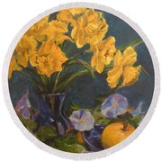 Round Beach Towel featuring the painting Daffodils by Karen Ilari