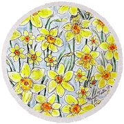 Round Beach Towel featuring the painting Daffodils by Monique Faella