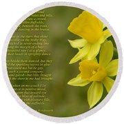 Daffodils Poem By William Wordsworth Round Beach Towel