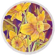 Round Beach Towel featuring the mixed media Daffodils by Teresa Ascone