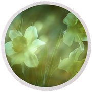 Daffodils1 Round Beach Towel by Loni Collins