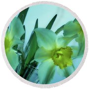 Daffodils2 Round Beach Towel by Loni Collins
