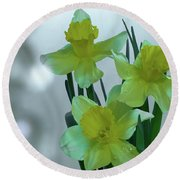 Daffodils3 Round Beach Towel by Loni Collins