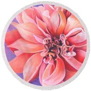 Dahlia 2 Round Beach Towel by Phyllis Howard