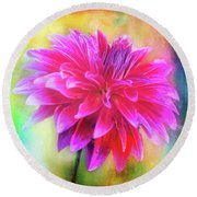 Dahlia Abstract Round Beach Towel