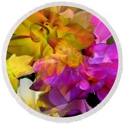 Round Beach Towel featuring the digital art Dahlia Fantasy by Hanne Lore Koehler