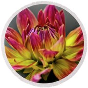 Round Beach Towel featuring the photograph Dahlia Flame by Joann Copeland-Paul
