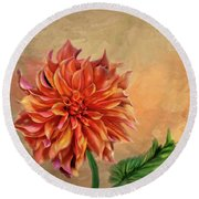 Round Beach Towel featuring the photograph Dahlia In The Fall by Mary Timman