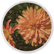 Dahlia Sketch Round Beach Towel