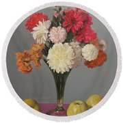 Dahlias And Golden Delicious Apples Round Beach Towel