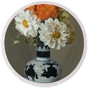 Dahlias In Japanese Caravan Vase Round Beach Towel