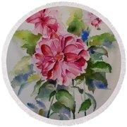 Dahlias Still Life Flowers Round Beach Towel by Geeta Biswas