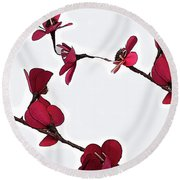 Dainty Red Double Stem  Round Beach Towel by Kirt Tisdale