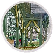 Round Beach Towel featuring the photograph Dairy Cottage Porch by Sandy Moulder