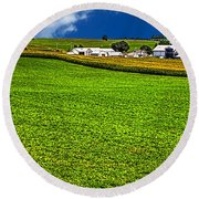 Dairy Farm Dane County Wisconsin Round Beach Towel