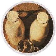 Dairy Nostalgia Round Beach Towel