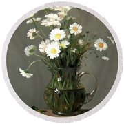 Daisies In A Water Pitcher On A Wood Beam Round Beach Towel