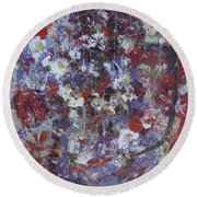 Round Beach Towel featuring the painting Daisies In Purple by Avonelle Kelsey