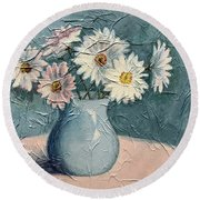 Daisies Round Beach Towel by Janet King