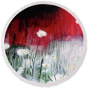 Daisies Round Beach Towel by Mary Ellen Frazee