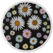 Daisies On Black Round Beach Towel