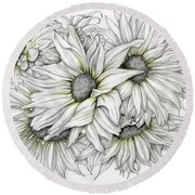 Sunflowers Pencil Round Beach Towel