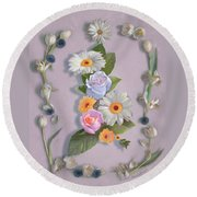 Round Beach Towel featuring the painting Daisies, Roses, And Tulips by Nancy Lee Moran