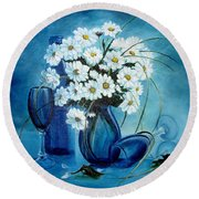 Round Beach Towel featuring the painting Daisies by Sorin Apostolescu